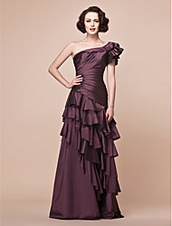 A-Line One Shoulder Floor Length Taffeta Mother of the Bride Dress with Beading Appliques Side Draping Ruffles by LAN TING BRIDE®