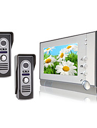 cheap -Two Waterproof Camera with 7 Inch Color TFT LCD Video Door Phone Intercom System