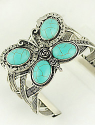 cheap -Turquoise And Silver Alloy Butterfly Cuff Bracelet Elegant Style