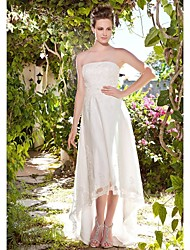 cheap -Sheath / Column Strapless Asymmetrical Tulle Made-To-Measure Wedding Dresses with Beading / Appliques / Button by LAN TING BRIDE® / Little White Dress