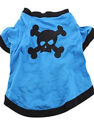 Baumwoll T-Shirt für Hunde mit Schädel  Motiv (Blau, Multiple Größen verfügbar)