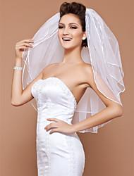 Veli da sposa 3 strati Velo corto (ai gomiti) Bordo smussato Bordo in perle 31,5 in (80cm) Tulle Bianco Avorio Adatto a tutti gli stili