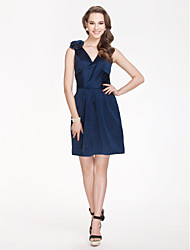 cheap -Sheath / Column V Neck Short / Mini Satin Bridesmaid Dress with Draping Flower by LAN TING BRIDE®