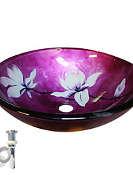cheap -Flower Tempered Glass Vessel Sink With Pop up and Mounting ring