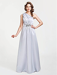 cheap -A-Line Princess One Shoulder Floor Length Satin Bridesmaid Dress with Beading Side Draping by LAN TING BRIDE®