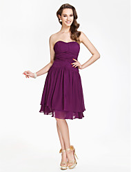 cheap -A-Line Princess Strapless Sweetheart Knee Length Chiffon Bridesmaid Dress with Draping Ruched by LAN TING BRIDE®