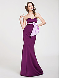 Mermaid / Trumpet Strapless Sweetheart Floor Length Satin Bridesmaid Dress with Bow(s) Sash / Ribbon by LAN TING BRIDE®