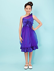 A-Line Princess One Shoulder Knee Length Satin Tulle Junior Bridesmaid Dress with Flower by LAN TING BRIDE®