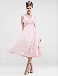 A-Line V-neck Tea Length Chiffon Bridesmaid Dress with Beading Pleats Criss Cross by LAN TING BRIDE®
