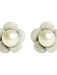 Flower Pattern Pearl Earrings Wedding Party Elegant Feminine Style