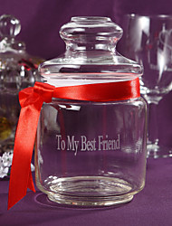 cheap -Personalized Candy Jar With Red Ribbon Wedding Table Centerpieces