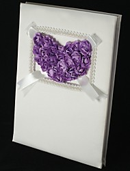 Lilac Rose Heart Guest Book with Tri-Fold Blank Pages Wedding Ceremony