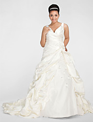 cheap -A-Line Ball Gown V-neck Chapel Train Satin Plus Size Wedding Dress by LAN TING BRIDE®