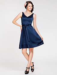 A-Line Princess V-neck Straps Knee Length Satin Bridesmaid Dress with Sash / Ribbon by LAN TING BRIDE®