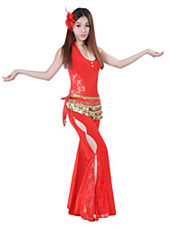 cheap -Belly Dance Outfits Women's Performance Crystal Cotton Lace Sleeveless Dropped
