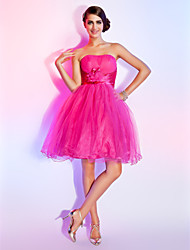 A-Line Ball Gown Strapless Short / Mini Tulle Homecoming Sweet 16 Dress with Flower(s) Side Draping Ruching by TS Couture®