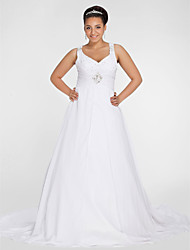 cheap -A-Line V Neck Chapel Train Chiffon Custom Wedding Dresses with Beading Draping Ruched by LAN TING BRIDE®