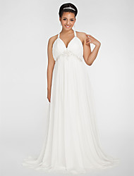 Sheath / Column V-neck Sweep / Brush Train Chiffon Wedding Dress with Beading Draped Side-Draped by LAN TING BRIDE®