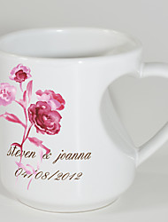 cheap -Personalized Mugs with Heart Shaped Handle - Rose Theme