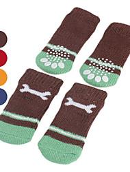 Dog Socks Casual/Daily Keep Warm Winter Spring/Fall Bone Red Orange Blue Brown Cotton