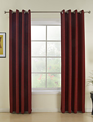 cheap -Rod Pocket Grommet Top Tab Top Double Pleat Two Panels Curtain Modern Solid Dining Room 100%Polyester Faux Linen Polyester Material