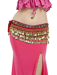 Belly Dance Belt Women's Performance Polyester Beading Coins 1 Piece Hip Scarf