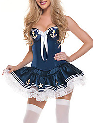Sailor/Navy Career Costumes Cosplay Costumes Party Costume Female Halloween Carnival Festival/Holiday Halloween Costumes White Blue Lace
