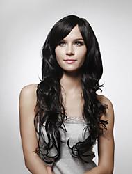 hesapli -Vücut Dalgası Stil Yan parça Bonesiz Peruk Siyah Koyu Kahverengi #3 Orta Kahve Gerçek Saç 24 inç Kadın's Siyah Peruk Uzun / Dalgalı