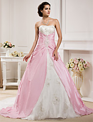 Ball Gown Strapless Chapel Train Organza Taffeta Wedding Dress with Beading Appliques Ruche Side-Draped by LAN TING BRIDE®