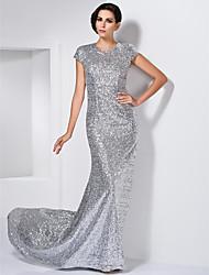 A tubino Con decorazione gioiello Strascico a terra Con strass Serata formale Vestito con Con strass di TS Couture®