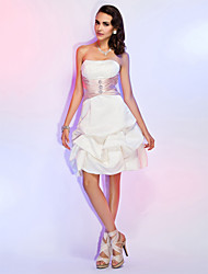 A-Line Princess Strapless Knee Length Satin Cocktail Party Wedding Party Holiday Dress with Beading by TS Couture®