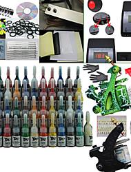 billige -2 pistoler tatovering kit med dobbelt udgang LCD magt og 54 farve blæk