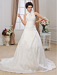 A-Line Princess Halter Chapel Train Taffeta Wedding Dress with Beading Criss-Cross Ruffle by LAN TING BRIDE®
