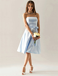 cheap -A-Line Strapless Knee Length Satin Bridesmaid Dress with Bow(s) Sash / Ribbon by LAN TING BRIDE®