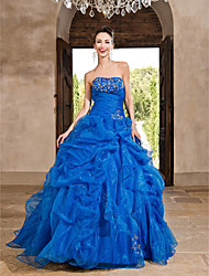 A-Line Strapless Floor Length Organza Prom Dress with Beading by TS Couture®