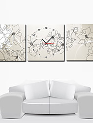 """12 """"-24"""" Modern Style Floral Wanduhr in Canvas 3pcs"""