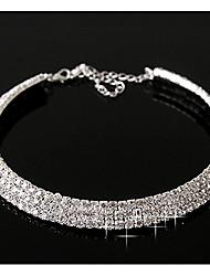 baratos -Mulheres Diamante colares em camadas  -  Casual Pedras dos signos Prata Cor Ecrã Colar Para
