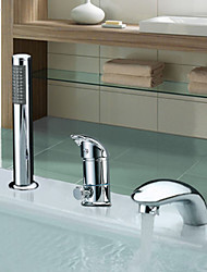 Contemporary Roman Tub Widespread with  Ceramic Valve Two Handles Three Holes for  Chrome , Bathtub Faucet