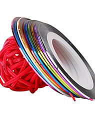 זול -12 pcs מדבקות ציפורניים שלוש מימדים נייל לסכל פסים סרט עיצוב ציפורניים פדיקור מניקור יומי אופנתי / 3D מסמר מדבקות / לסכל סרט