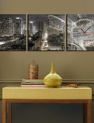 cheap -New York Cityscape Stretched Canvas Wall Clock Set of 3