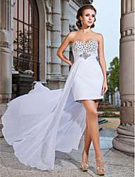 cheap -Sheath / Column Strapless Sweetheart Short / Mini Asymmetrical Chiffon Cocktail Party Formal Evening Dress with Beading Crystal Detailing