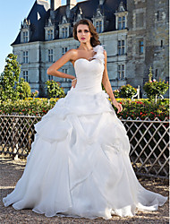 Ball Gown One Shoulder Floor Length Organza Wedding Dress with Flower Pick-Up Side-Draped by LAN TING BRIDE®