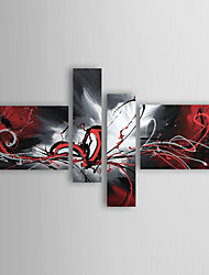 cheap -Oil Paintings Set of 4 Modern Abstract Reds Flowing Lines Hand-painted Canvas Ready to Hang