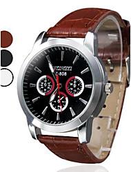 cheap -Men's Quartz Wrist Watch Hot Sale PU Band Charm Dress Watch Black White Brown