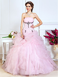 cheap -A-Line Ball Gown Princess Strapless Floor Length Organza Prom Quinceanera Dress with Beading by TS Couture®