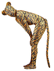 Tiger Pattern Spandex Lycra Unisex Zentai Catsuit with Tail