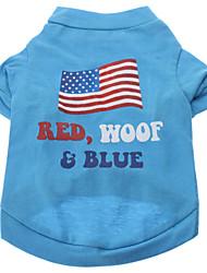 Cachorro Camiseta Roupas para Cães Respirável Carta e Número Azul Azul Claro Ocasiões Especiais Para animais de estimação