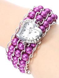 Bracelet de Montre Japonais Quartz Bande Perles Elégantes Blanc Noir Violet Bleu Rose