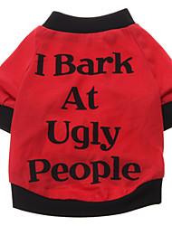 Cani T-shirt Rosso Abbigliamento per cani Estate Primavera/Autunno Lettere & Numeri Divertente