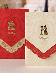 cheap -Elegant Wedding Invitation With Laser-cut Floral Border - Set of 50 (More Colors)